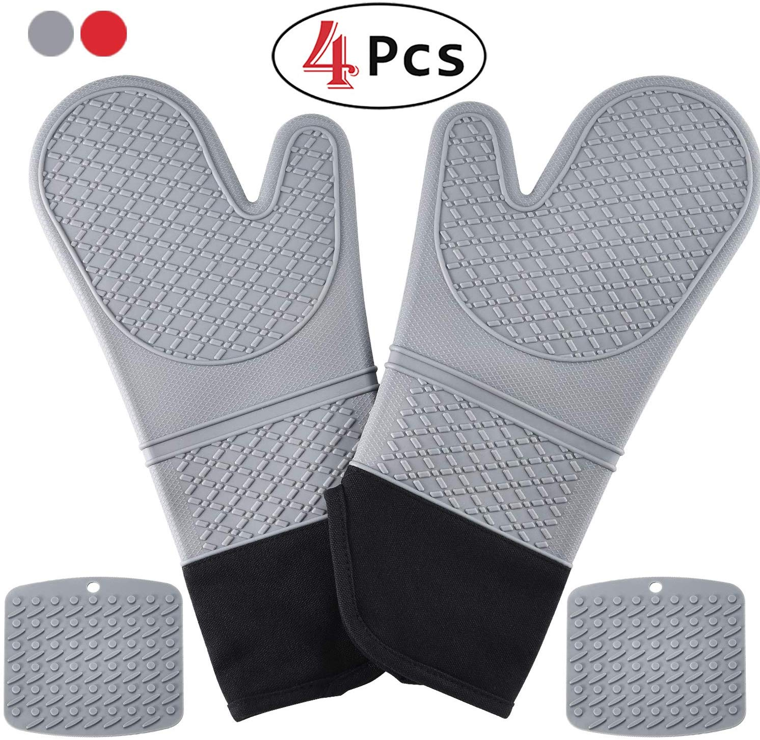 HmiL-U Silicone Oven Mitts | Pot Holders-1 Pair of Extra Long Heat Resistant up to 500 F Cooking Gloves with 2 PotHolders for Kitchen, Cooking, Baking,BBQ (Gray)