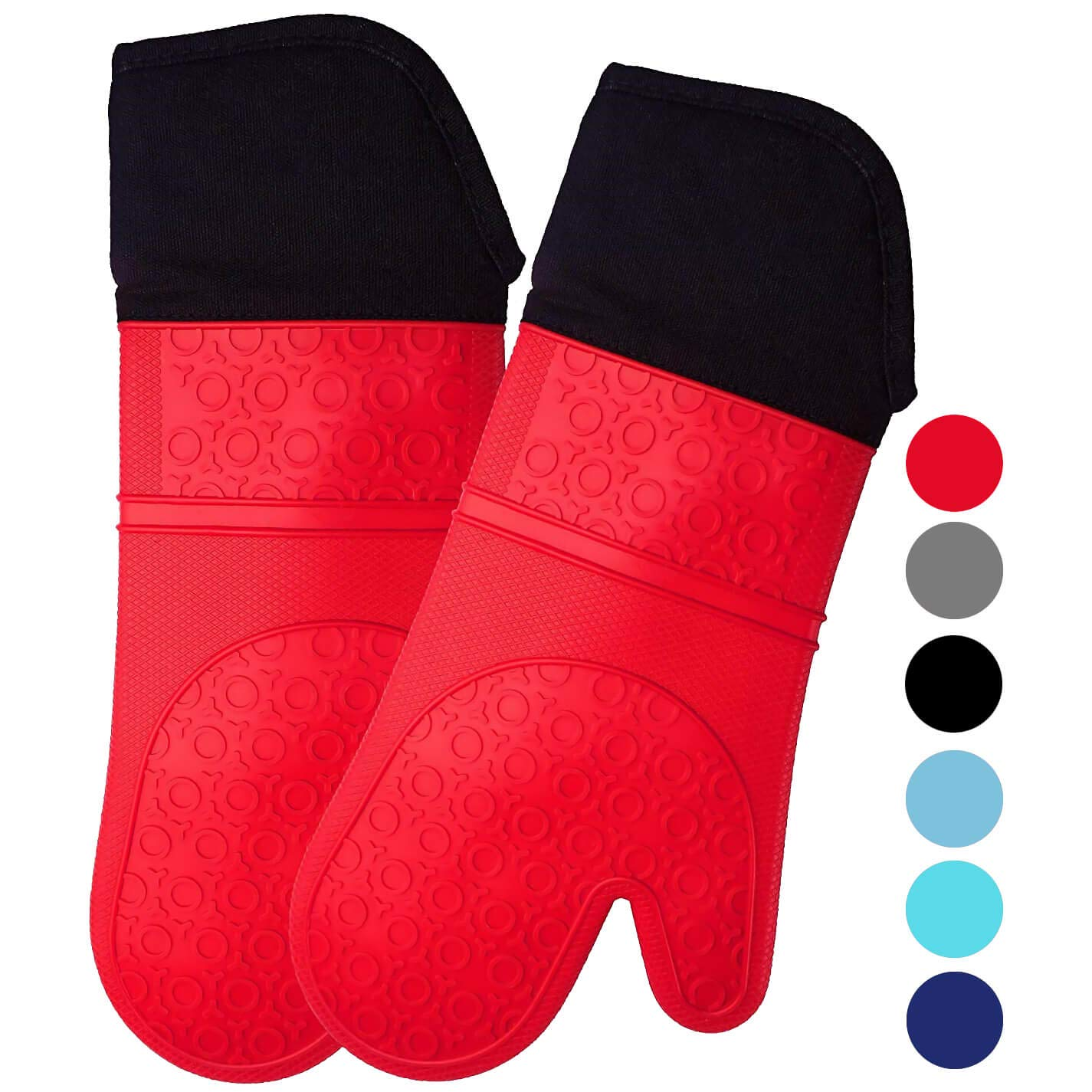 Homwe Extra Long Professional Silicone Oven Mitt - 1 Pair - Extra Long Oven Mitts with Quilted Liner - Red