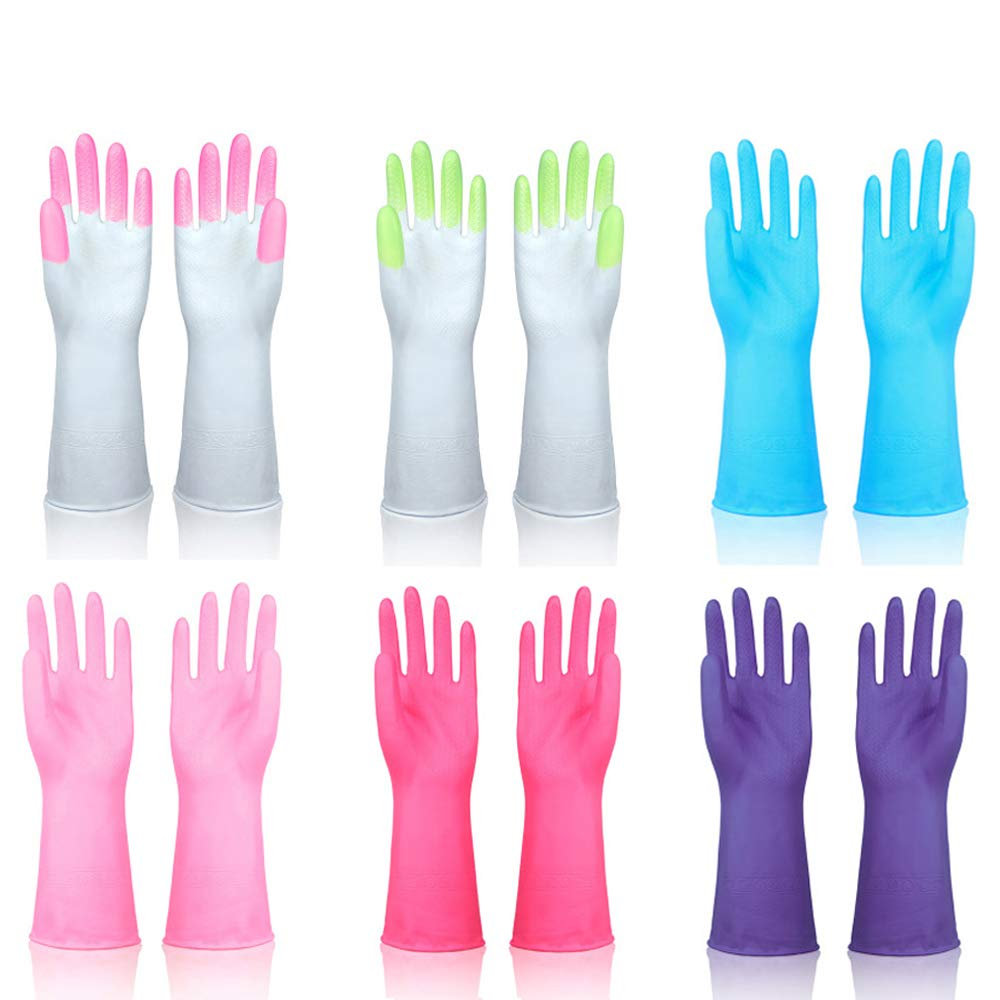 Household Cleaning Gloves Reusable Rubber Kitchen Dishwashing Gloves for Dish Washing Laundry by DreamSter, 6 Pairs, Mixed Size