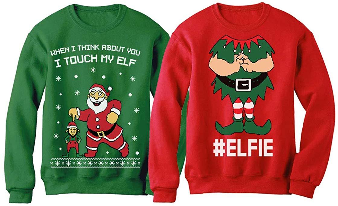 I Touch My Elf Elfie Ugly Christmas Sweater Sweatshirt Funny Matching Couple Set