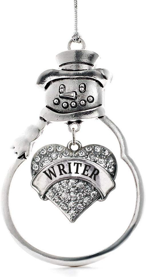 Inspired Silver - Writer Charm Ornament - Silver Pave Heart Charm Snowman Ornament with Cubic Zirconia Jewelry