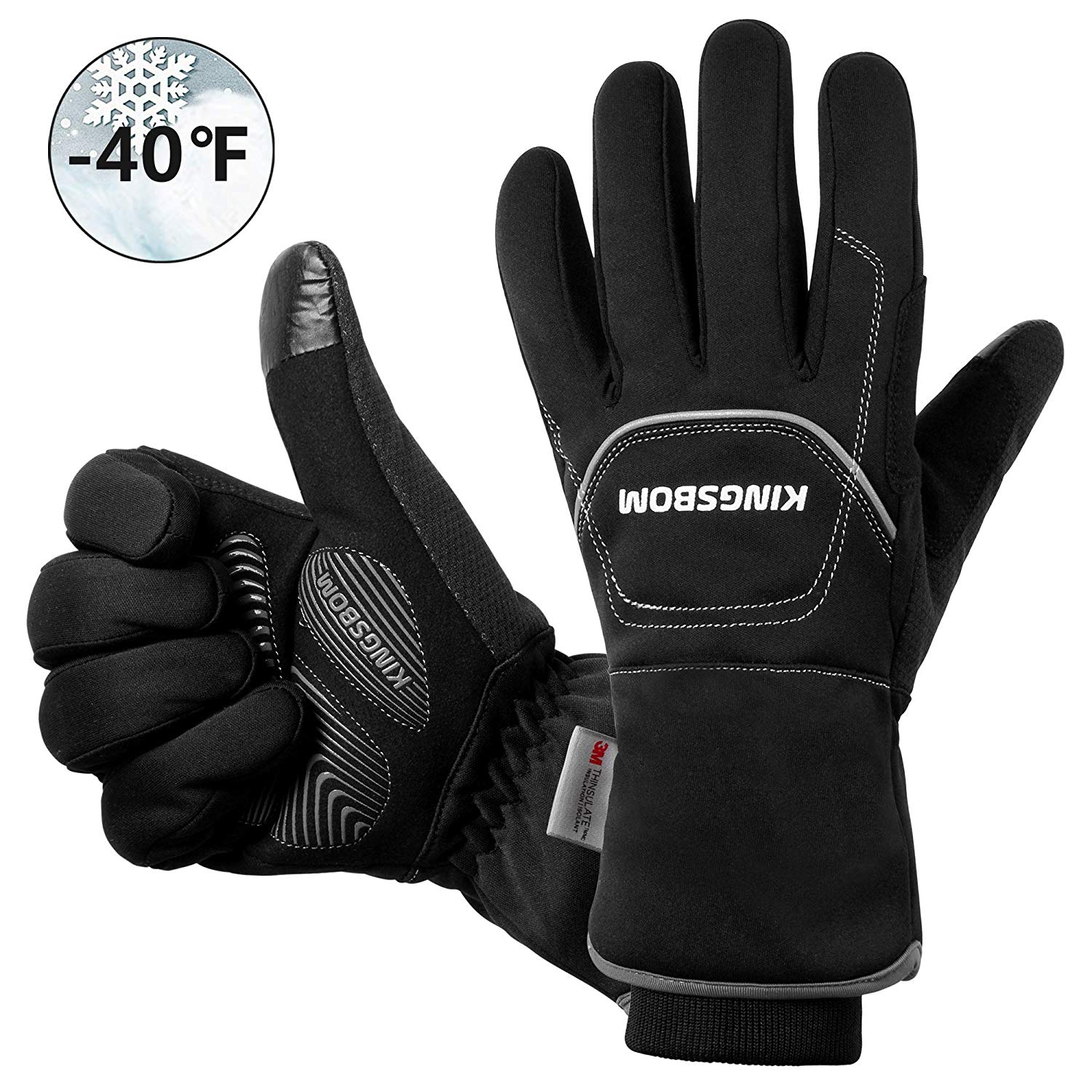 KINGSBOM Waterproof & Windproof Thermal Gloves - 3M Thinsulate Winter Touch Screen Warm Gloves - for Cycling,Riding,Running,Outdoor Sports - for Women and Men - Black
