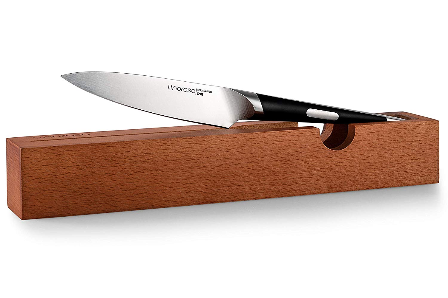 Linoroso Paring Knife - 4.5'' Kitchen Knife Sharp Fruit Knife with Oak Knife Tray, Best Quality German Made High Carbon Stainless Steel Knife,Fruit and Vegetable Carving Peeling Knife - MAKO Series