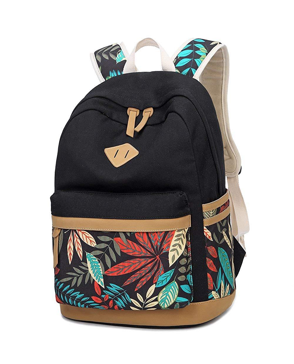 LuckyZ Women Casual Backpack Lightweight Canvas Daykpack Cute Laptop Bag School Backpacks Bookbag