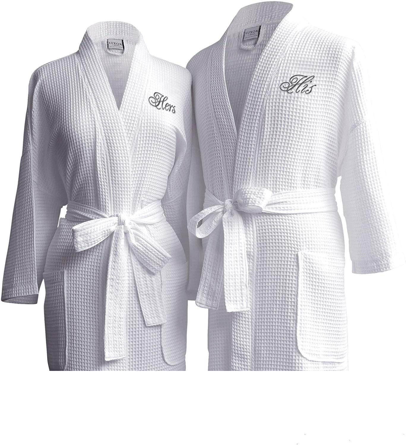 Luxor Linens Waffle Weave Spa Bathrobe - Ciragan Collection - Luxurious, Super Soft, Plush & Lightweight - 100% Egyptian Cotton, Made in Turkey (His/Hers, with Gift Packaging)