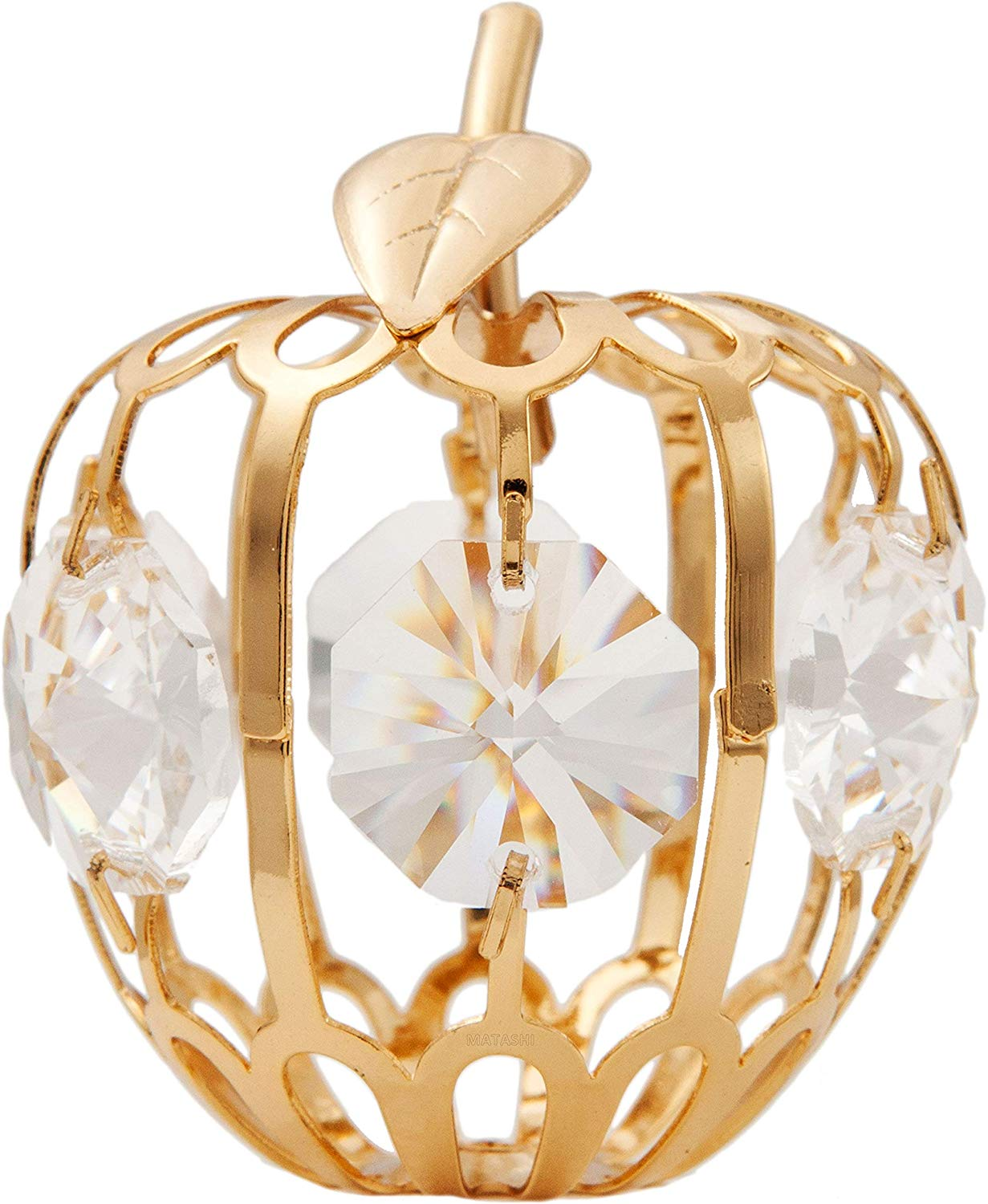 Matashi 24K Gold Plated Crystal Studded Mini Apple Ornament with Clear Crystals Home Decor Office Desk Showpiece Tabletop Centerpiece - Gift for Mother's Day Wedding Anniversary Christmas Birthday