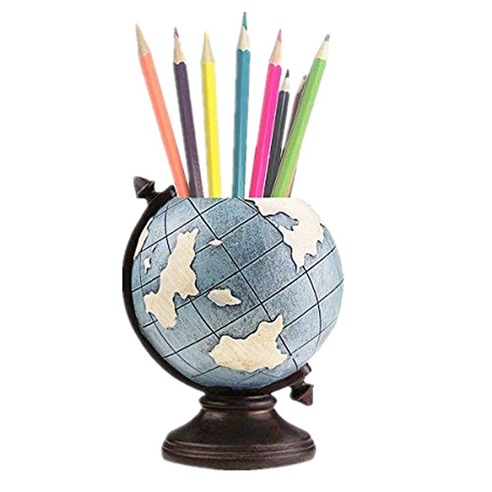 MUAMAX Globe Pen Pencil Pot Holder Desk Organizer Home Office Pen Storage Container Kids Men Gifts Vintage Retro Decoration