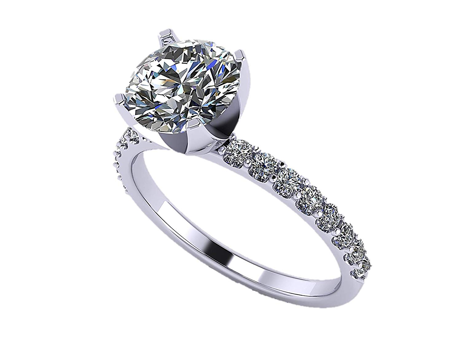 NANA 1.0-4.0ct Swarovski Zirconia Round Brilliant Cut Solitaire Engagement Ring Sterling Silver