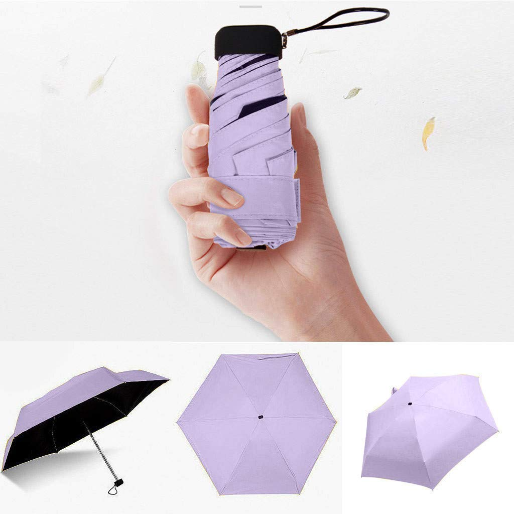 Ouniman Small Lightweight Umbrella Parasol,Folding Travel Sun&Rain Compact Umbrellas UV Protection Umbrella Mini Windproof Umbrella Blocking UV 98% Ergonomic Handle,Multiple Colors Available (Purple)