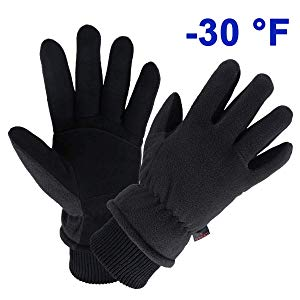 OZERO Winter Gloves Water Resistant Thermal Glove with Deerskin Suede Leather and Insulated Polar Fleece for Driving/Cycling/Running/Hiking/Snow Ski in Cold Weather - Warm Gifts for Men and Women
