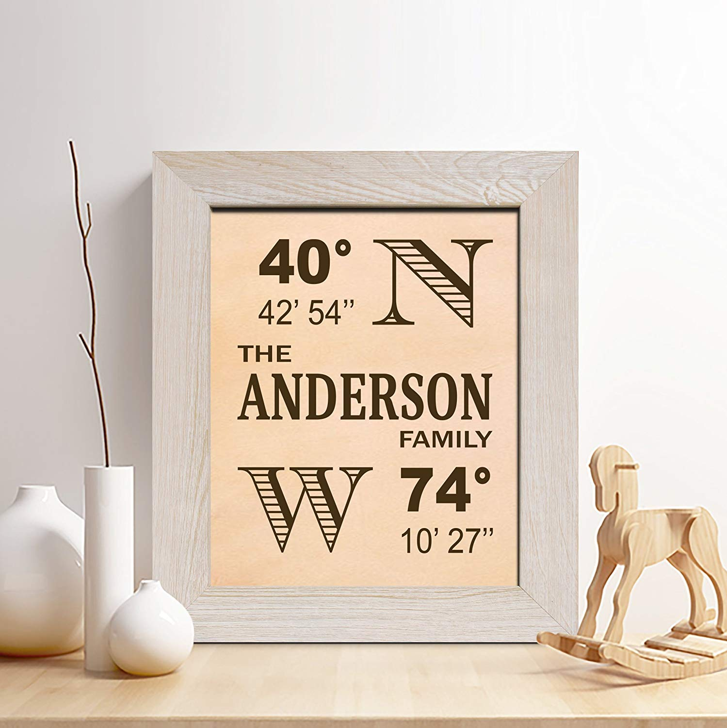Personalized 3rd Leather Anniversary Gift for Him or Her, Leather Longitude Latitude Sign Print, Gifts for Husband and Wife