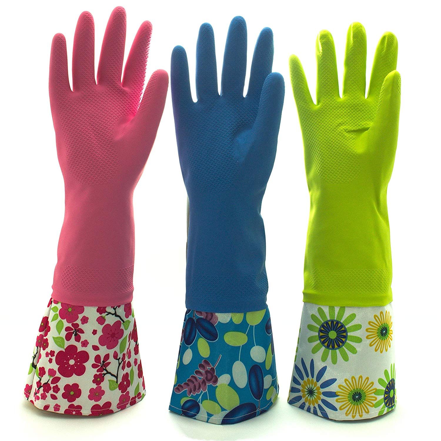 Reusable Waterproof Household Latex Cleaning Gloves, Long Cuff, Kitchen Gloves. 16 inches Long - Pack of 3 (Large)
