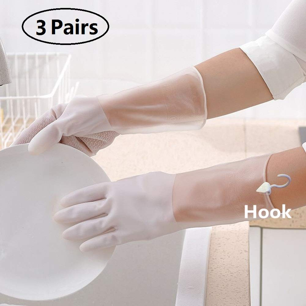 Rubber Gloves for Kitchen Cleaning Gloves, Durable Household PVC Gloves for dishwashing Waterproof & Latex Free (3 Pairs) (PVC02-S)