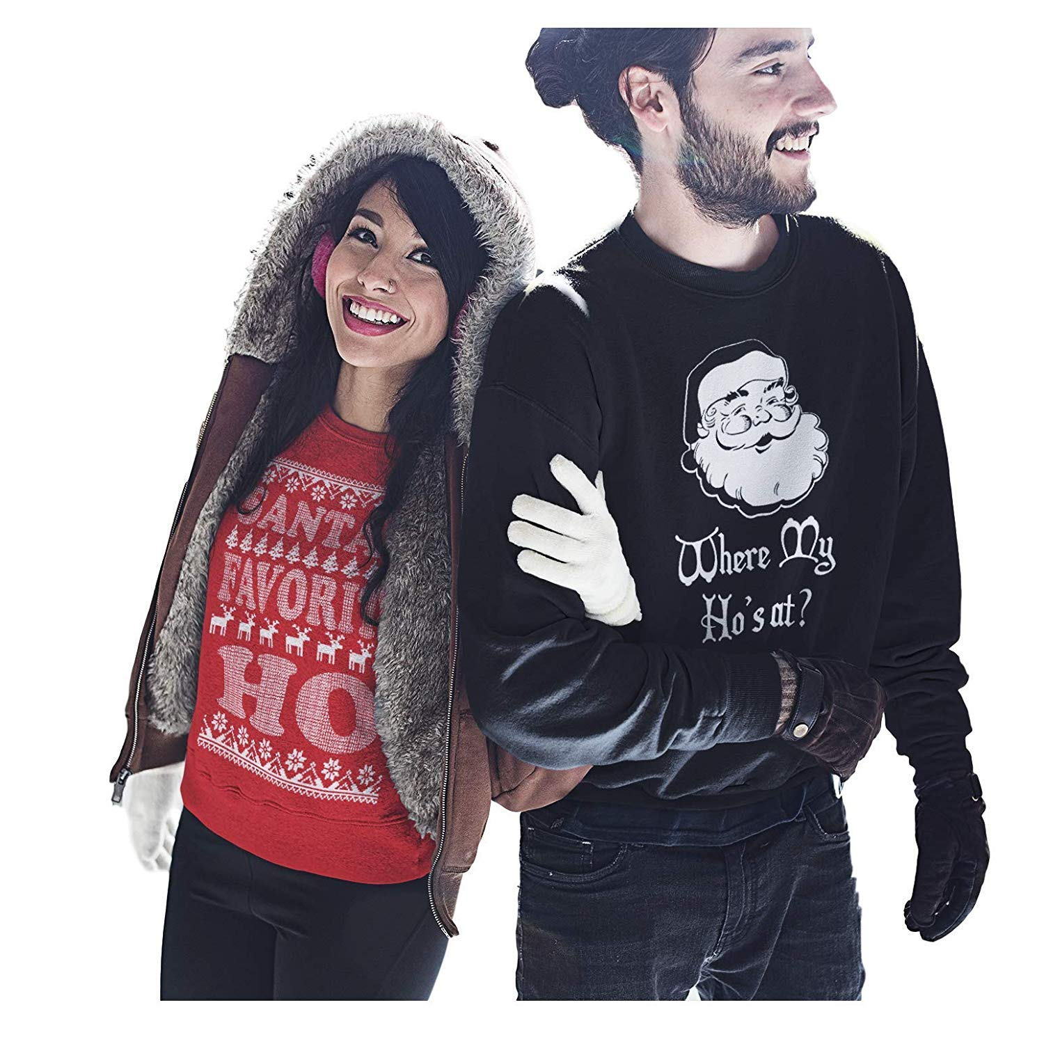 Running Partner Couple Ugly Christmas Sweaters Santa's Favorite Ho & Where My Ho's at? Set of 2
