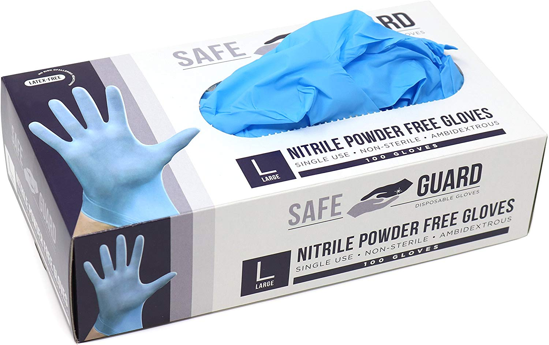 Safeguard Nitrile Disposable Gloves, Powder Free, Food Grade Gloves, Latex Free, 100 Pc. Dispenser Pack, Medium Size, Blue