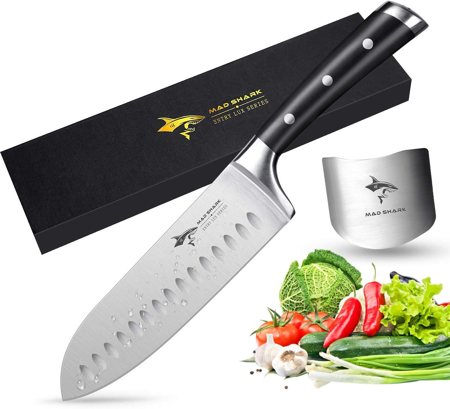 Santoku Knife - MAD SHARK Pro Kitchen Knives 7 Inch Chef's Knives,Best Quality German High Carbon Stainless Steel Knife with Ergonomic Handle,Ultra Sharp,Best Choice for Home Kitchen and Restaurant