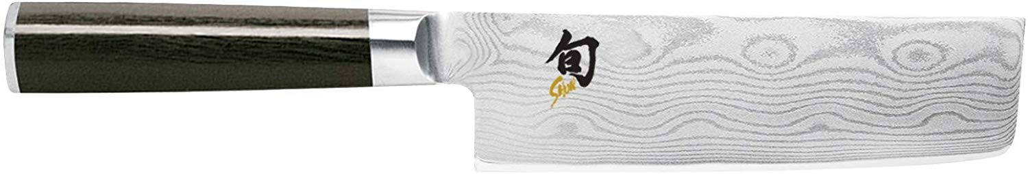 "Shun Cutlery Classic 6.5"" Nakiri Knife; Kitchen Knife Handcrafted in Japan; Hand-Sharpened 16° Double-Bevel Steel Blade for Swift and Easy Precision Work; Beautiful D-Shaped Ebony PakkaWood Handle"