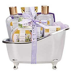 Spa Luxetique Bath Spa Gift Set with Relaxing Lavender Oil, Premium 8pc Spa Gift Baskets for Women, Home Spa Gift Set with Shower Gel, Bubble Bath, Body Butter, Bath Puff, Best Gift Set for Women.