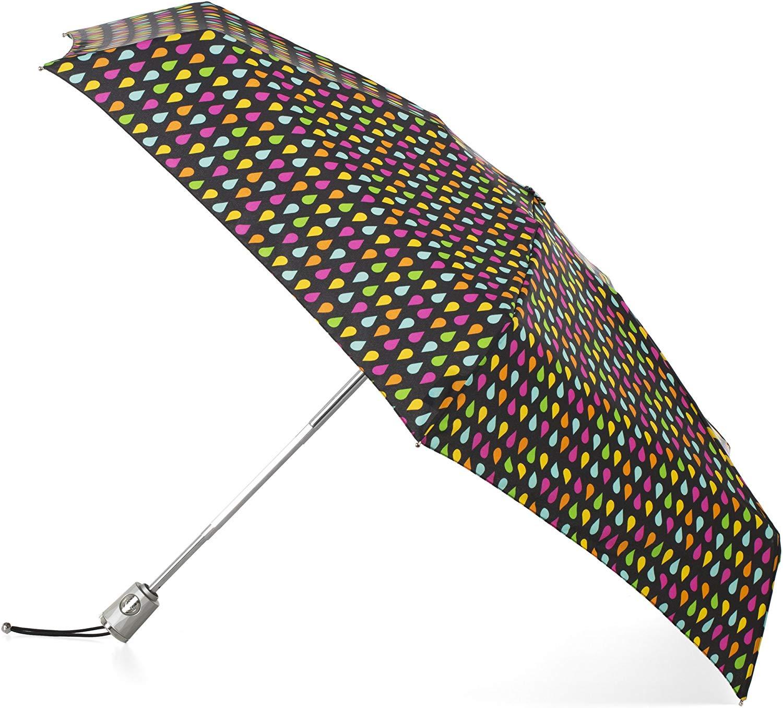 totes Automatic Open Close Water-Resistant Mini Travel Foldable Umbrella with Sun Protection, Black Rain