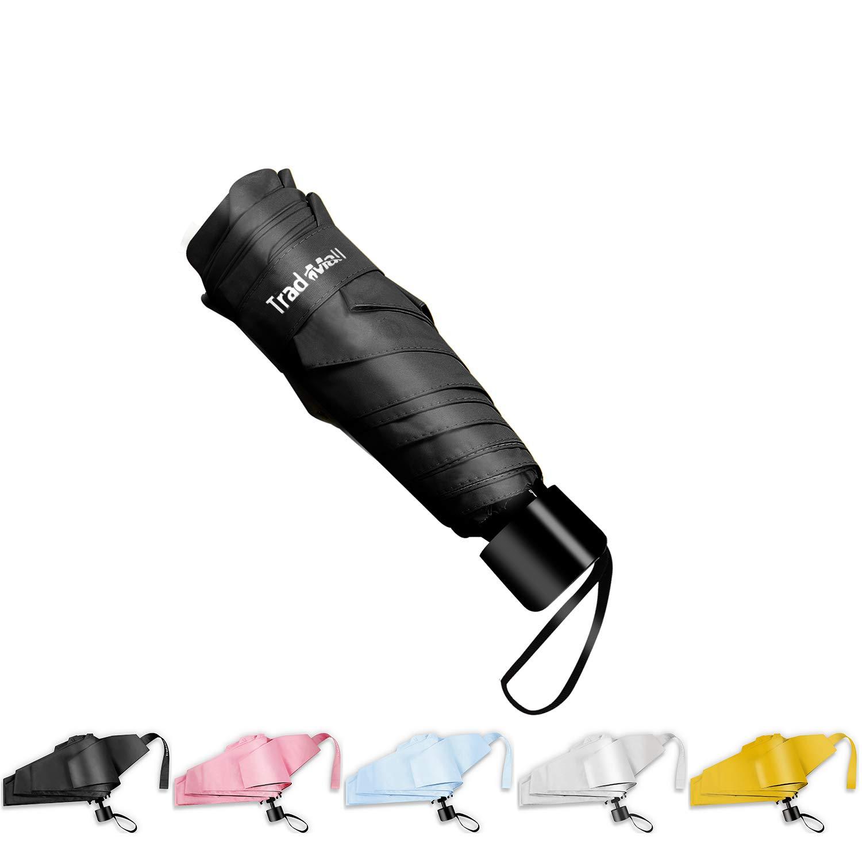 TradMall Mini Travel Umbrella, 6 Ribs Portable Lightweight Compact Parasol with 95% UV Protection for Sun & Rain, Black