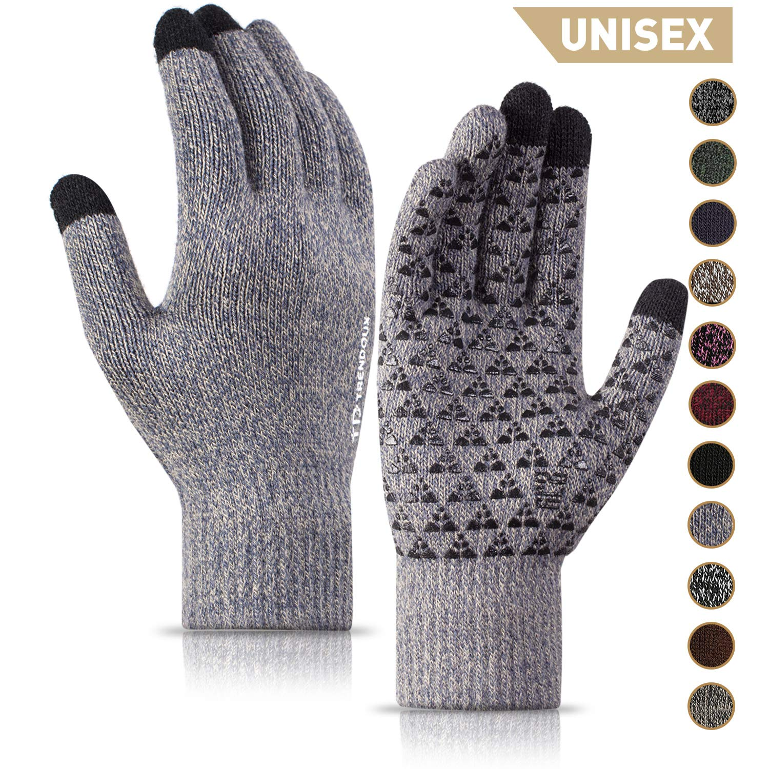 TRENDOUX Winter Gloves for Men and Women - Upgraded Touch Screen Anti-Slip Silicone Gel - Elastic Cuff - Thermal Soft Wool Lining - Knit Stretchy Material