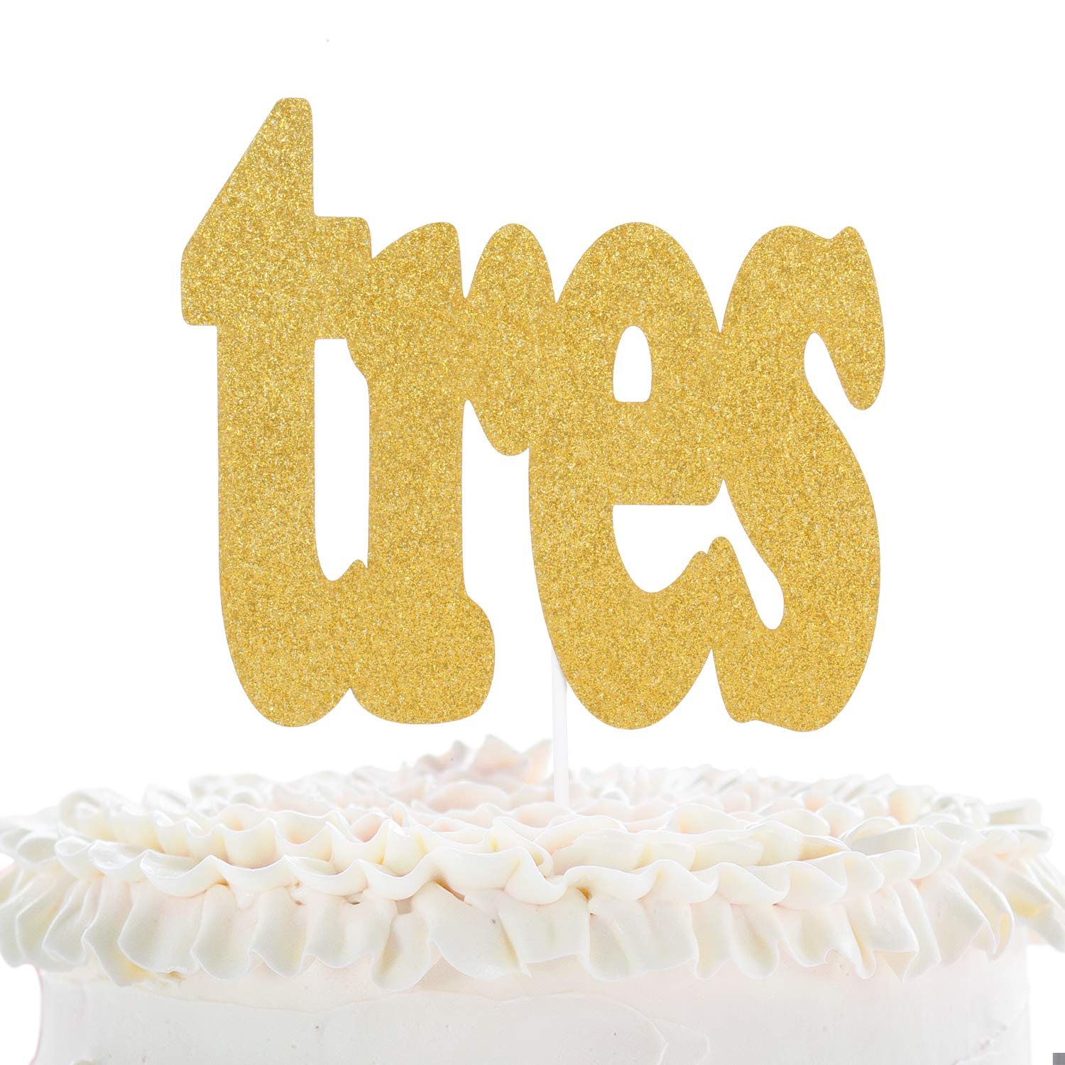 Tres Fiesta 3rd Birthday Cake Topper - Spanish Fiesta Kids Three Years Old Gold Glitter Cake Décor - Boys Girls Third Birthday Party - 3 Years Wedding Anniversary Derocation