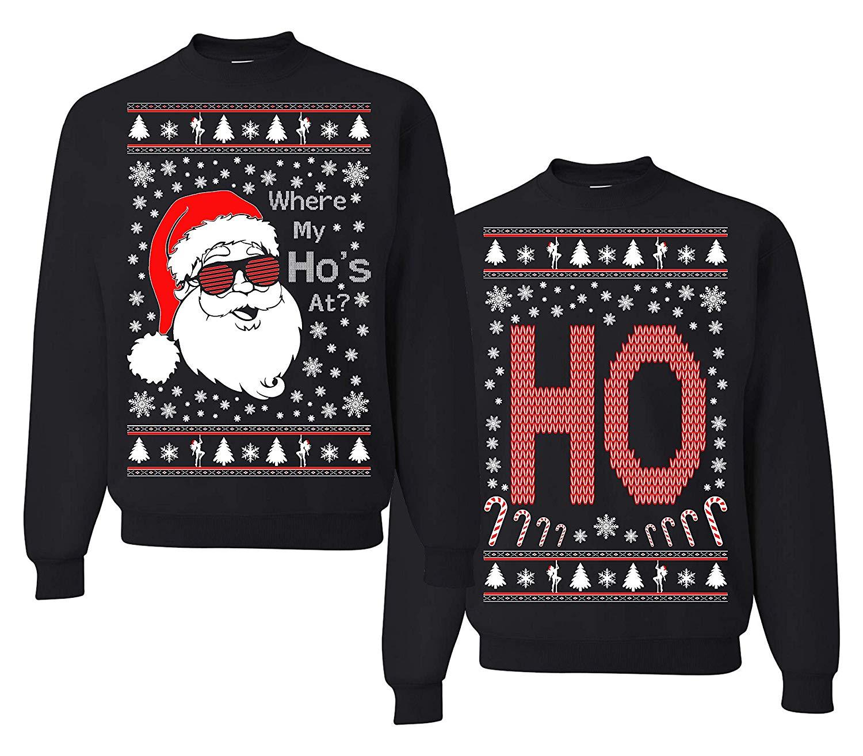Tutiinca Where My Ho's at? Christmas Couples Sweaters, Ugly Christmas Sweatshirt, Funny Christmas Matching Sweatshirt