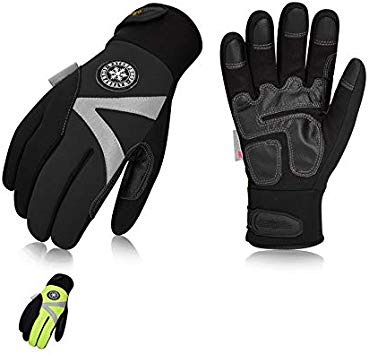 Vgo 2Pairs -4℉ or above 3M Thinsulate C100 Lined High Dexterity Touchscreen Synthetic Leather Winter Warm Work Gloves, Waterproof Insert (Size XL, Black,Fluorescent Green,SL8777FW)