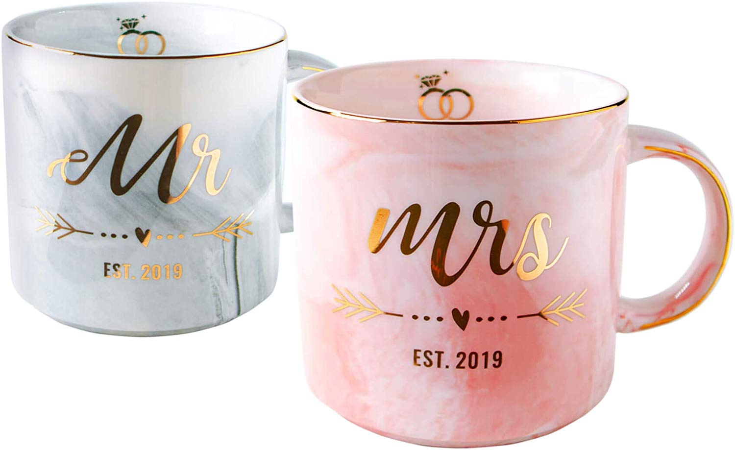 Vilight Wedding Gifts for The Couple - Unique Bridal Shower Gifts for Bride and Groom - Mr and Mrs Mugs for Newlywed 2019 - Marble Coffee Cups Set