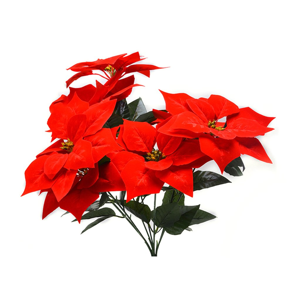 VOSAREA Christmas Artificial Flowers Real Touch Flannel Red Poinsettia Bushes Xmas Tree Ornaments for Home Office Decor