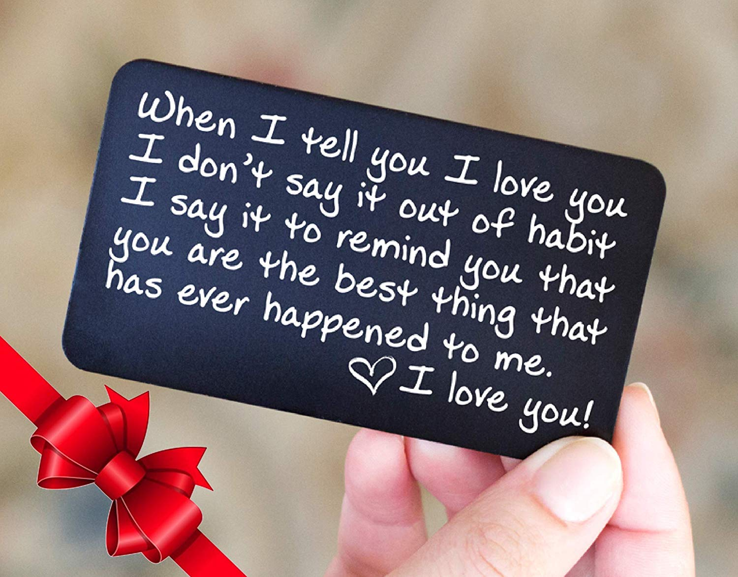 Wallet Card Love Note | Husband Gifts from Wife, Aluminum Anniversary Gifts for Husband | Engraved Boyfriend Gift Idea | Cute Christmas Card | Meaningful & Romantic Mini Wallet Insert for Men