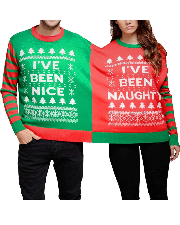 Women Mens Couples Matching Christmas Naughty-Nice Adult Holiday Pajamas Set