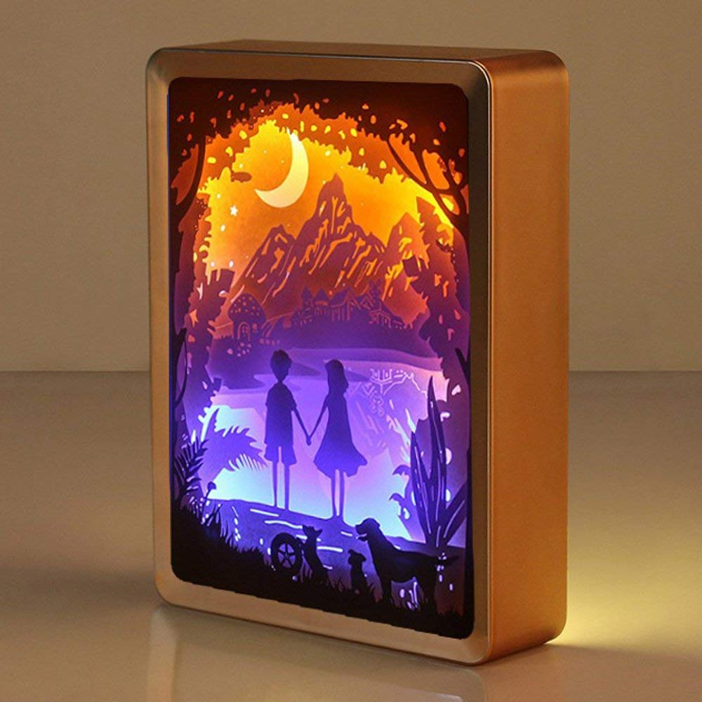 WOMHOPE ABS Frame Papercut Light Boxes Night Lights Paper Sculptures Night Light Lamp of Creative Shadow Paintings (Hand in Hand)