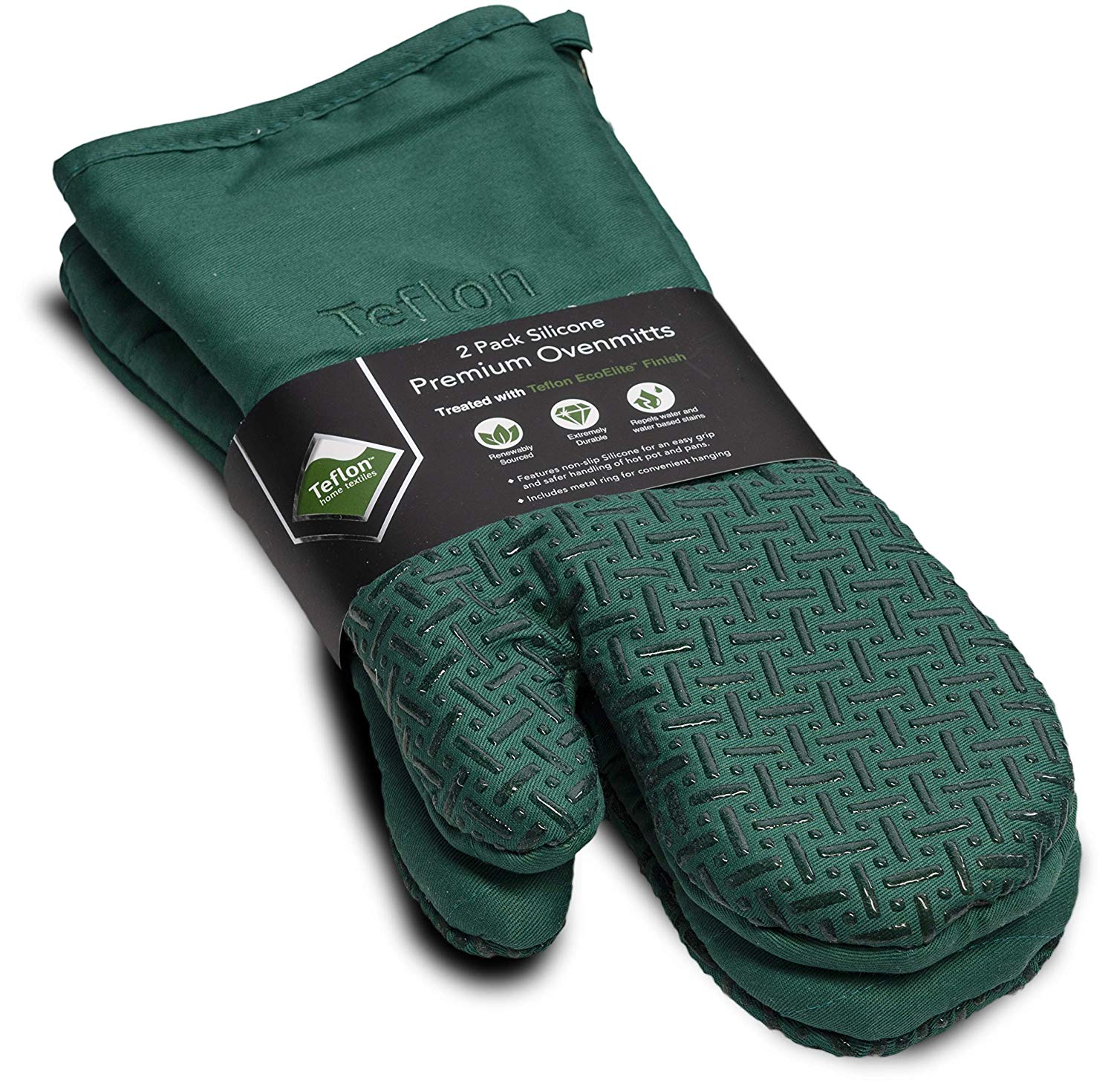 XLNT Extra Long Green Oven Mitts, Waterproof and Heat Resistant, Teflon Eco Elite Coating with Cotton Lining, Silicone Non Slip Texture, Hanging Loop, Great for Home Baker Or Commercial Chef Use