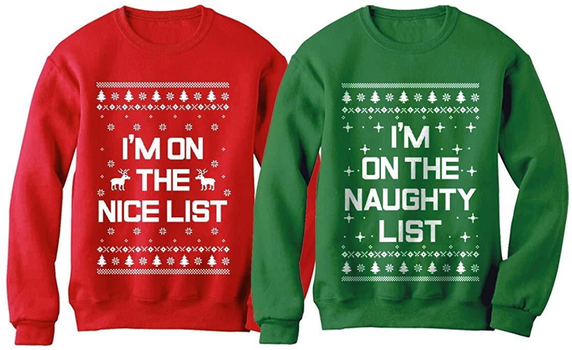 Xmas Nice & Naughty List Ugly Christmas Set Funny Holiday Party Sweatshirts