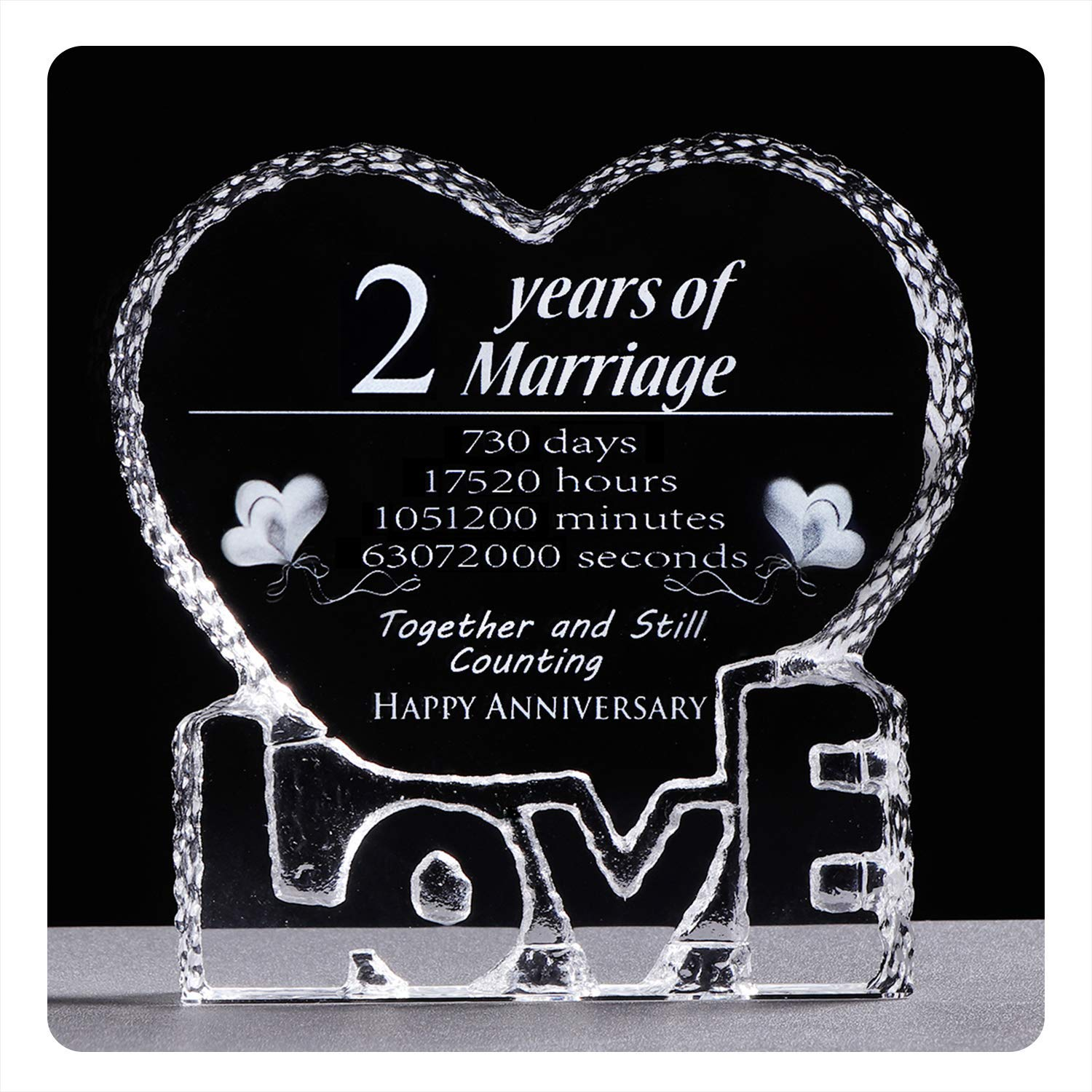 YWHL 2 Year 2nd Wedding Anniversary Crystal Sculpture Keepsake Gifts for Her Wife Girlfriend Him Husband (2 Year)