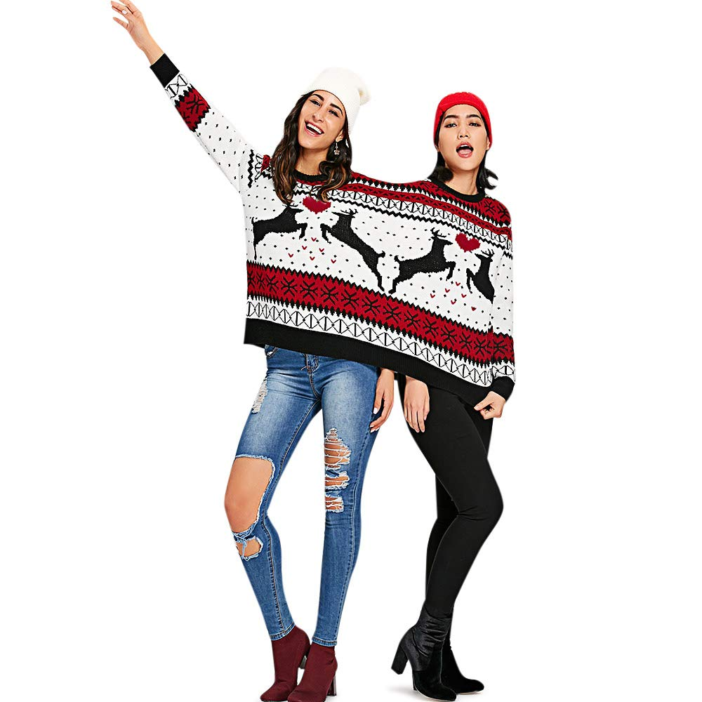 ZEZCLO Two Person Knit Ugly Sweater Xmas Couples Pullovers Novelty Christmas Jumper