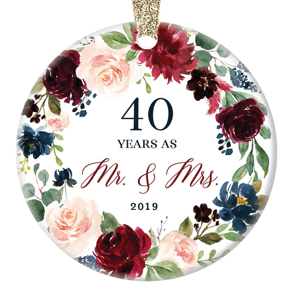 "40 Forty Years Married Mr. & Mrs. 2019 Christmas Ornament Keepsake Gift 40th Wedding Anniversary Husband & Wife Pretty Ceramic Holiday Decoration Present Porcelain 3"" Flat with Gold Ribbon Free Box"