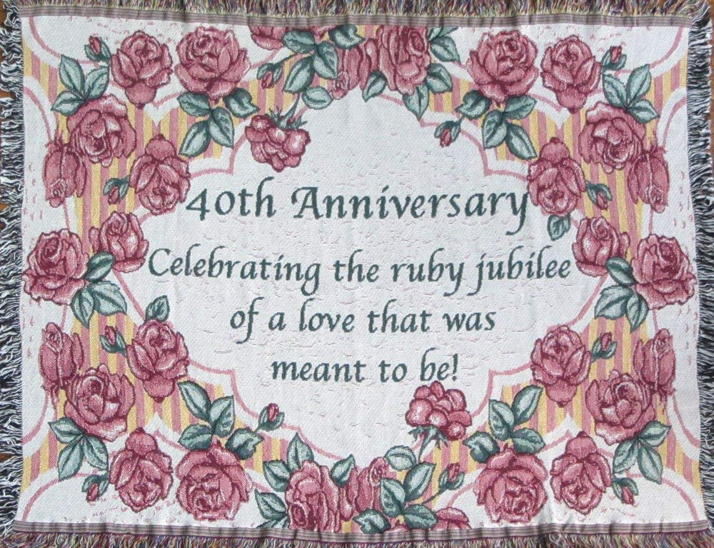 40th Anniversary Cotton Sofa Throw - 40th Wedding Anniversary Gift - Made in USA