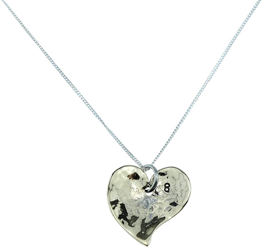 8th Anniversary Beaten Bronze Heart Pendant with 8 Stamped in Corner - Great 8th Anniversary Gift