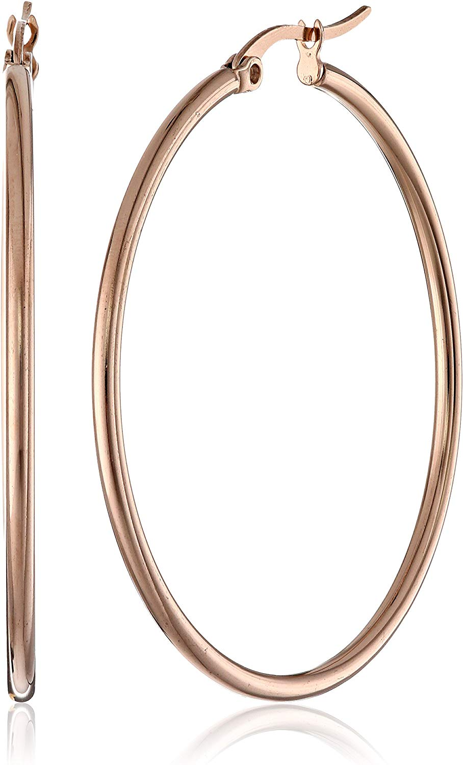 Amazon Essentials Plated Stainless Steel Rounded Tube Hoop Earrings