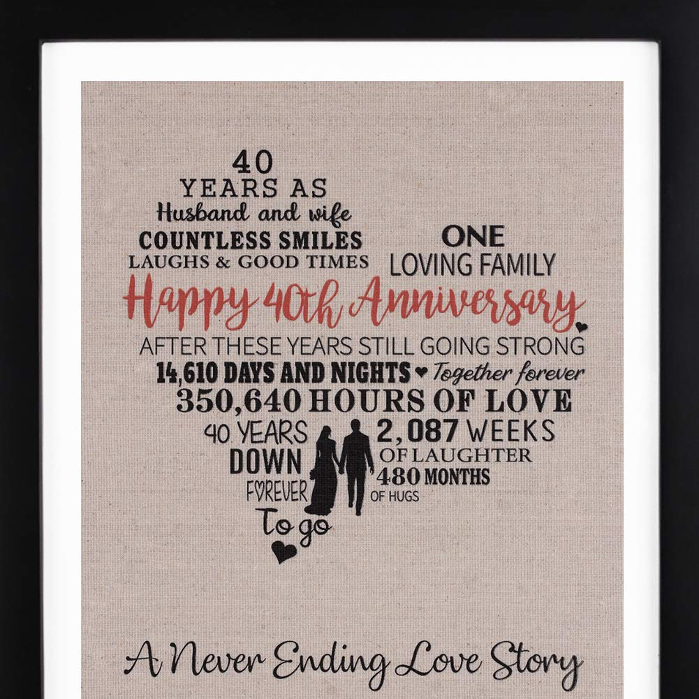 Anniversary Love Story Burlap Print with Frame, 40th Anniversary Gift for Parents, Ruby Anniversary, Happy 40 Year Wedding Gift