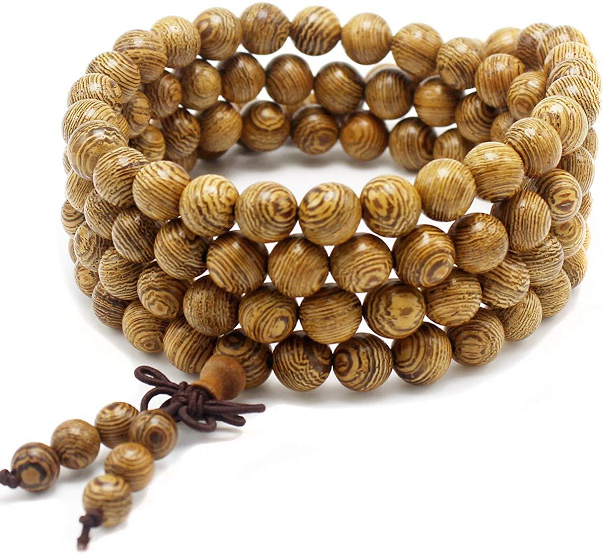 anzhongli Mala Beads Bracelet 108 8mm Prayer Meditation Sandalwood Elastic