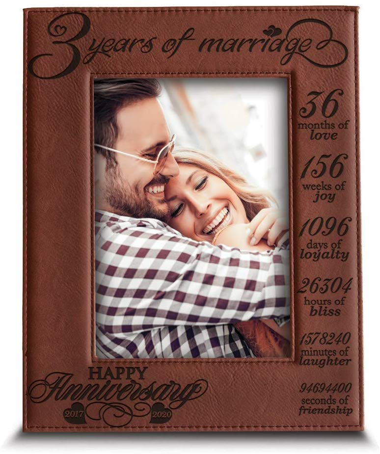BELLA BUSTA- 3 Years of Marriage-2017-2020- Years,Months, Weeks, Days, Hours, Weeks, Minutes, Seconds- Engraved Leather Picture Frame (5 x 7 Vertical (Rawhide))