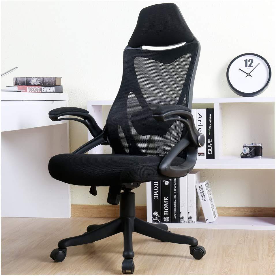 BERLMAN Ergonomic High Back Mesh Office Chair with Adjustable Armrest Lumbar Support Headrest Swivel Task Desk Chair Computer Chair Guest Chairs Reception Chairs (Black)