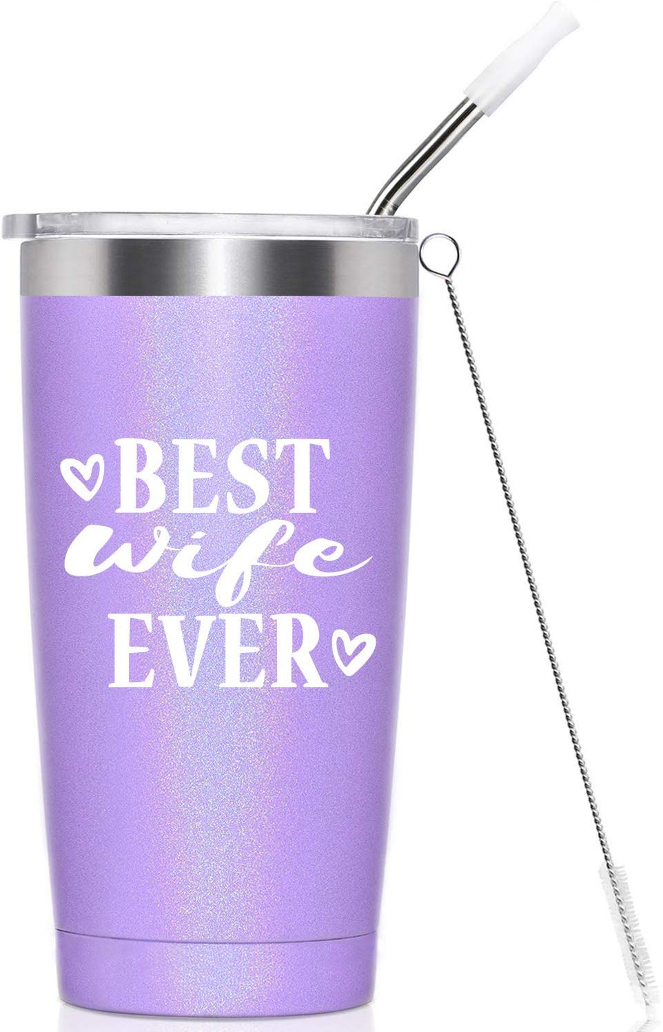 Best Wife Ever I Vacuum-Insulated Stainless Steel Tumbler Mug Cup with Lid and Straw, Valentines Christmas Birthday Gifts for Wife, 20-Ounce Purple