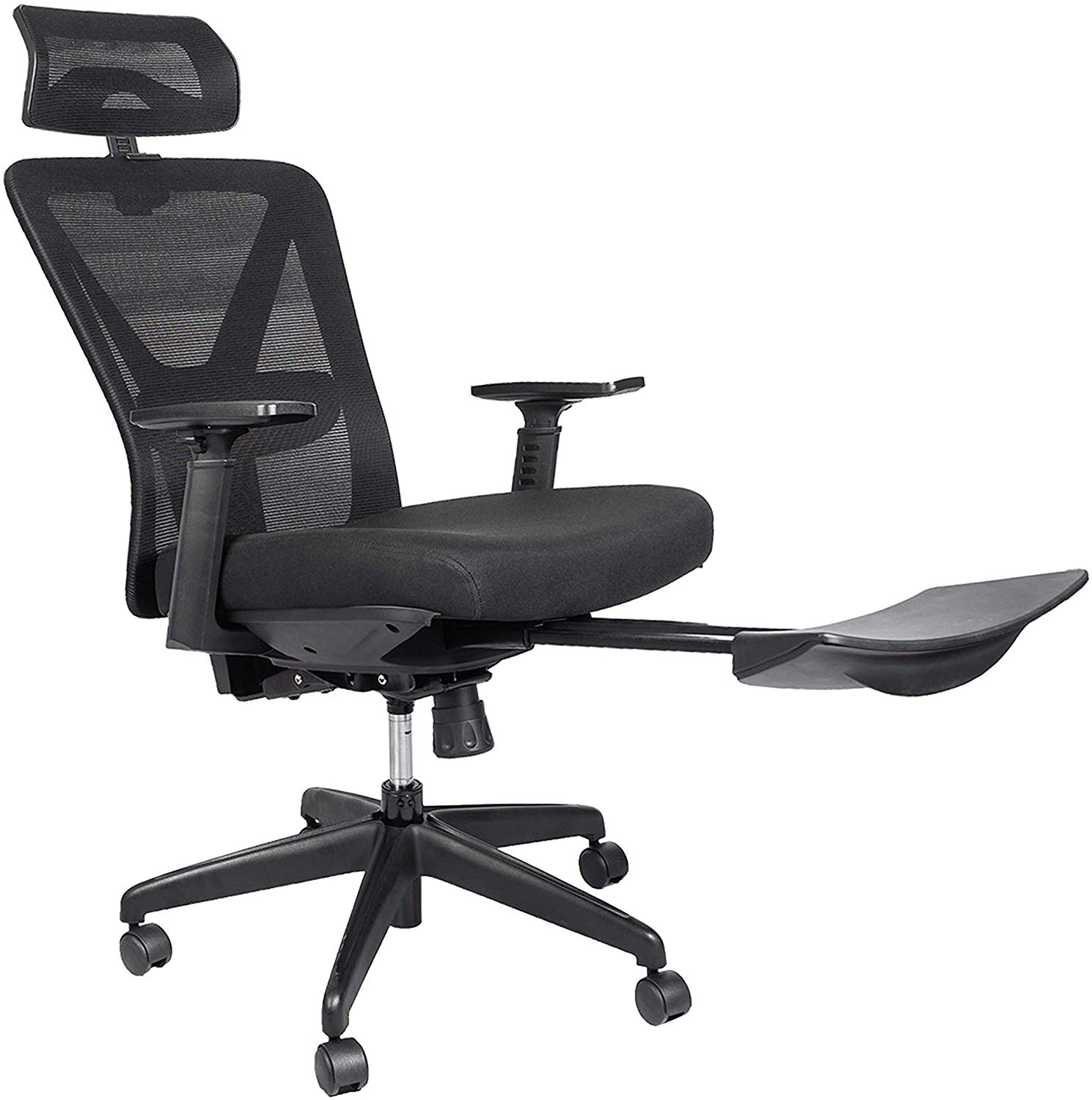 Bonzy Home Reclining Office Chair High Back - 300 LB Capacity Ergonomic Computer Mesh Recliner - Executive Swivel Office Desk Chair - Task Chair with Footrest and Lumbar Support (Black Footrest)