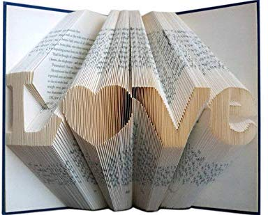 Boston Creative company LLC Folded Book Art -Stunning Word Pattern Folded Book Art -Love Pattern - Paper for Him or Her - Date - Unique Birthday Gift - Wedding Decoration - 6 Numbers -Love