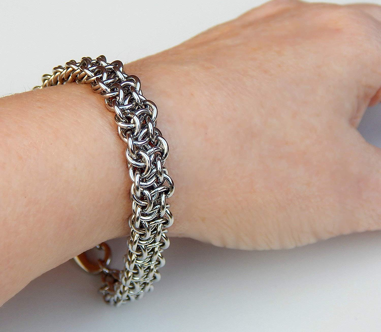 Bracelet in Stainless Steel, 11th Anniversary Gift for Wife - Handcrafted Jewelry for Women & Men by ChainMettle Jewelry