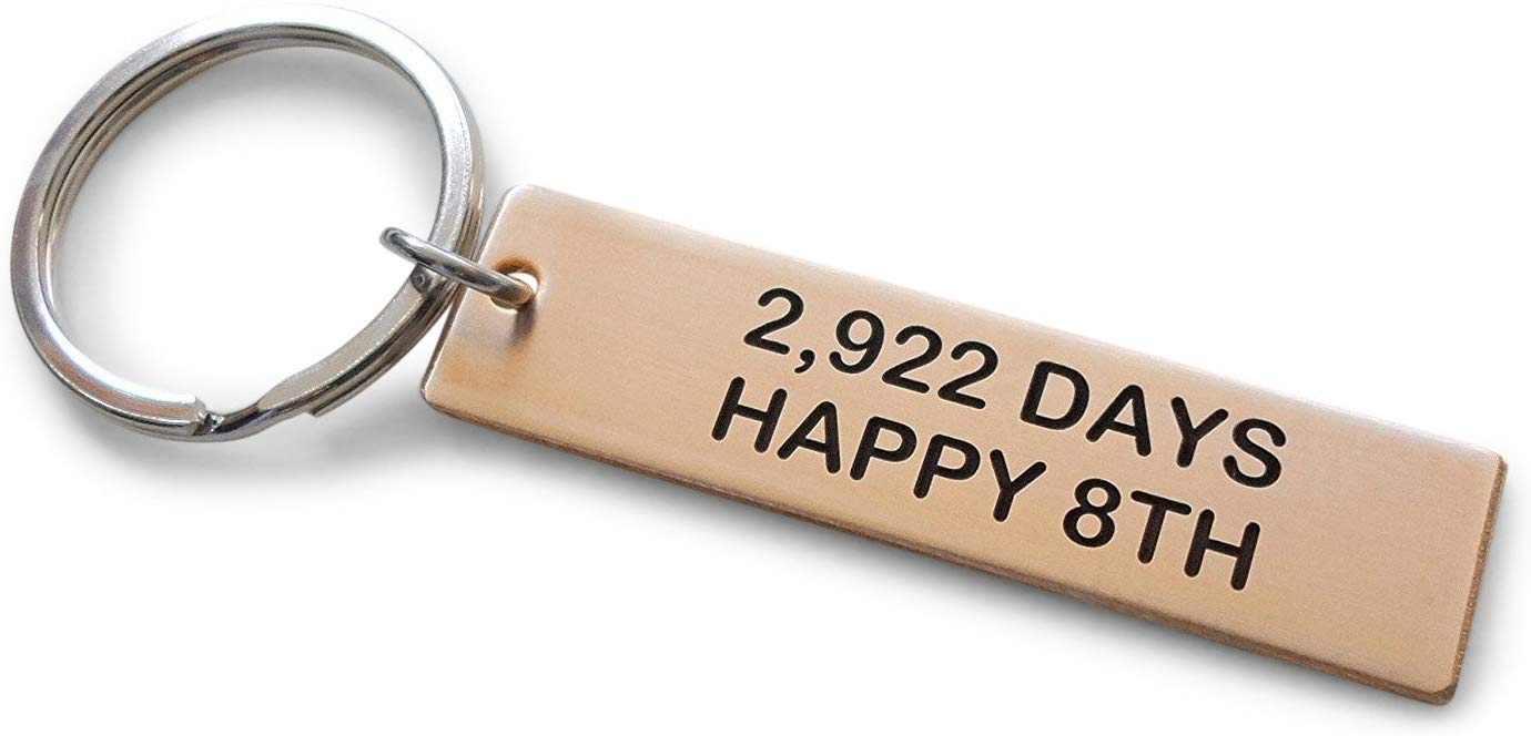 "Bronze Tag Keychain Engraved with""2,922 Days, Happy 8th""; Handmade 8 Year Anniversary Couples Keychain"